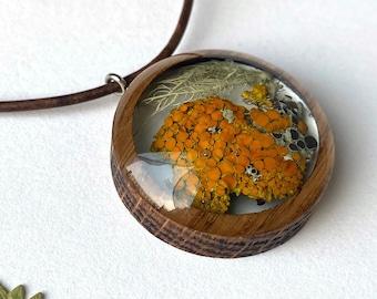 Terrarium Necklace with Orange Sunburst Lichen: Botanical Mushroomcore/ Fairy/ Woodsy/Michigan /Beachy Jewelry in Resin and Wood