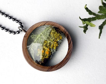 Lichen Resin and Wood Necklace Pendant: Nature Lover Jewelry with Real Sunburst Lichen in Resin, Michigan/ Mushroom Terrarium Necklace
