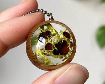 Brown-Eyed Wolf Lichen Resin and Wood Necklace Pendant: Nature Lover Jewelry with Real Wolf Lichen from the Sierra Nevada Mountains