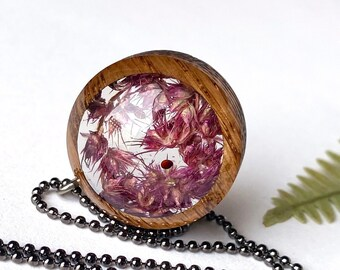 Magenta Amaranth Flowers in Resin: Nature Jewelry w/ Real Plants, Pretty Pink/Purple Flower Necklace, Floral Summery Nature Jewelry
