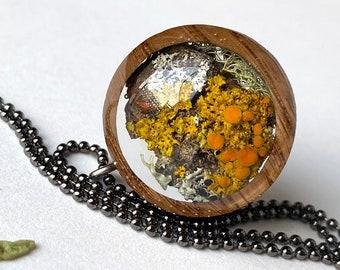 Orange Sunburst Lichen Jewelry: Resin and Wood Terrarium Jewelry with Northern Michigan Xanthoria Lichen, Mushroomcore Nature Jewelry