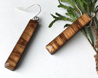 Red Oak Wood Earrings: Natural Luminous Laser-Cut Wood and Resin Jewelry by BuildWithWood, Delicate Lightweight Natural Wooden Earrings