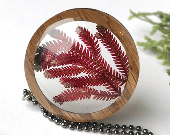 Ruby Red Spikemoss Leaves Resin & Wood Necklace Pendant: Handmade Nature Jewelry w/ Real Plants, Pressed Fern Terrarium Necklace in Epoxy