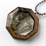 Lichen Resin and Wood Necklace Pendant: Nature Jewelry with Real Plants