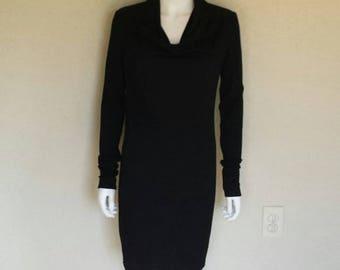 Helmut Lang black wool cowl neck dress Size small