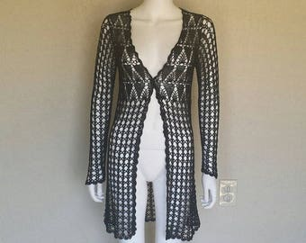 Bcbg max azria see through black crochet button front long sleeve jacket