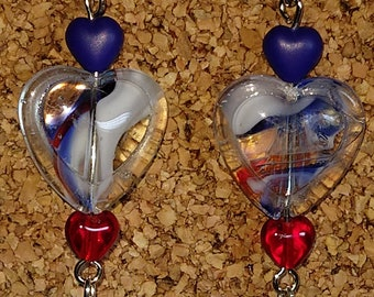 Red White and Blue Patriotic Heart Earrings