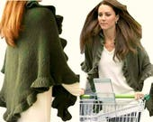 Kate Middleton Olive Green Wool Three Sides Ruffled Cute Shawl, Kate Middleton Shawl, Handknit, Express Delivery