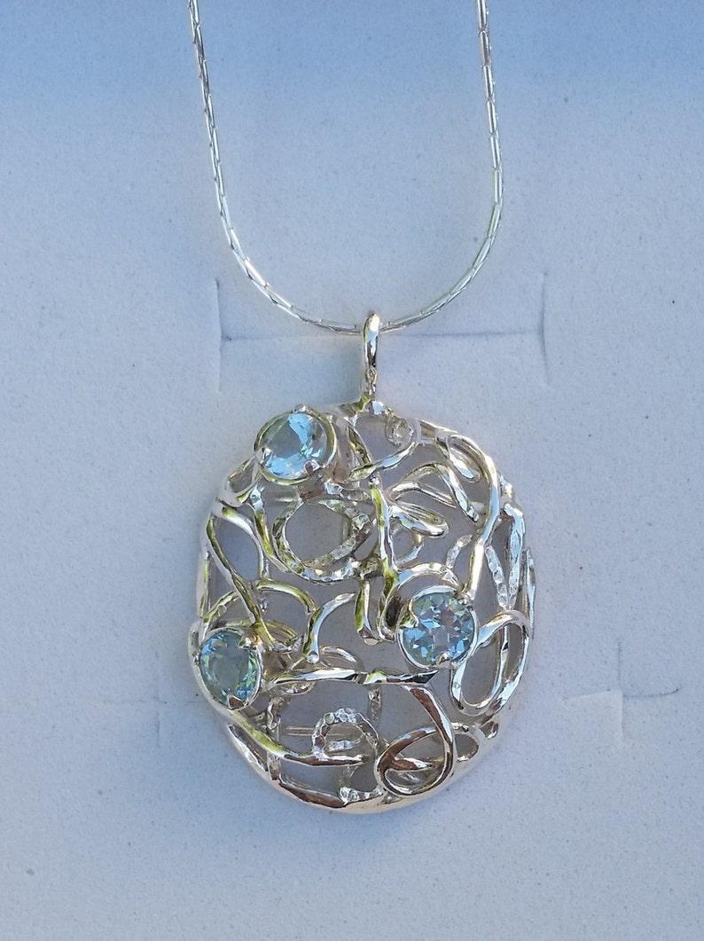 Sterling Silver Multistone Pendant Blue Topaz Silver Pendant Handmade Gemstones Pendant Blue Topaz Women Silver Necklace