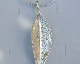 Leaf Silver Pendant ,Handmade Sterling Silver Pendant ,Women Unique Silver Necklace ,Organic Silver Pendant ,Leaves Jewelry , Summer Sale