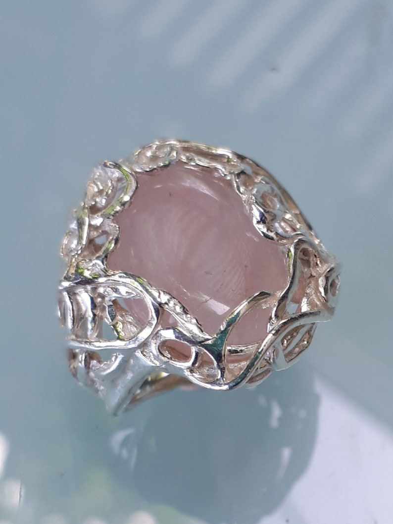 Statement Ring express shipping easter sale Friendship Ring Rose Quartz Silver Ring Handmade Rose Quartz Ring