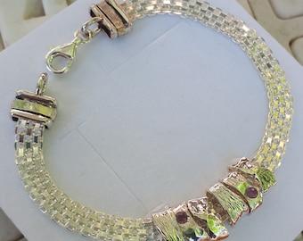 Silver Charm Bracelet ,Handmade Chain Silver Bracelet ,Sterling Silver Bracelet ,Amethyst Silver Bracelet ,Women Bracelet , Summer Sale