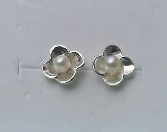 Stud Pearl Earrings ,Bridal Pearl Earrings ,Flower Pearl Studs ,Sterling Silver Studs ,Handmade Studs ,Wedding Earrings , Summer Sale