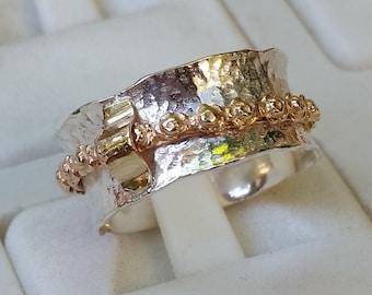 Silver And Gold Spinner Ring ,Handmade Spinner Ring ,Unique Sterling Silver Spinner Ring ,Bridal Spinner Ring ,Flower Ring ,Summer Sale