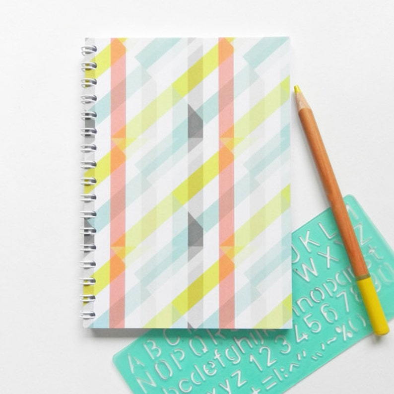 A6 Spiral Bound Geometric Notebook image 0