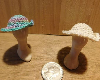 Miniature crocheted doll hose sun hats Hand made