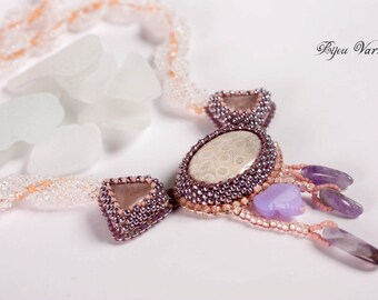 Beadwork Embroidery Pendant with corall fossil, corall pendant, pink juwelry, pink pendant, pink jewelry, pink necklace