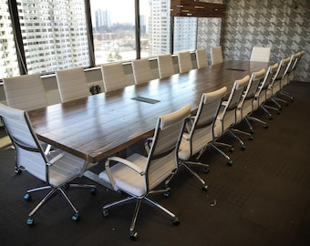 Turkish Steel Conference Table Solid Wood Boardroom Table Etsy - Wood and metal conference table