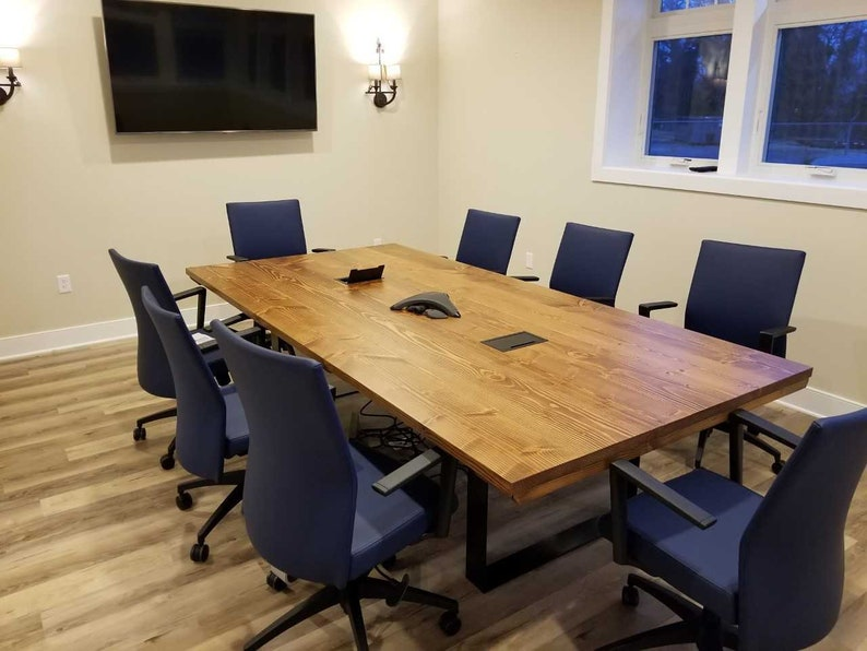 10ft Steel Pedestal Conference Table Modern Farmhouse Table Etsy