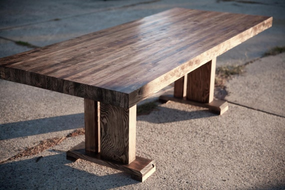 Butcher Block Table Solid Wood Farmhouse Dining Table Etsy - Farm table trestle base