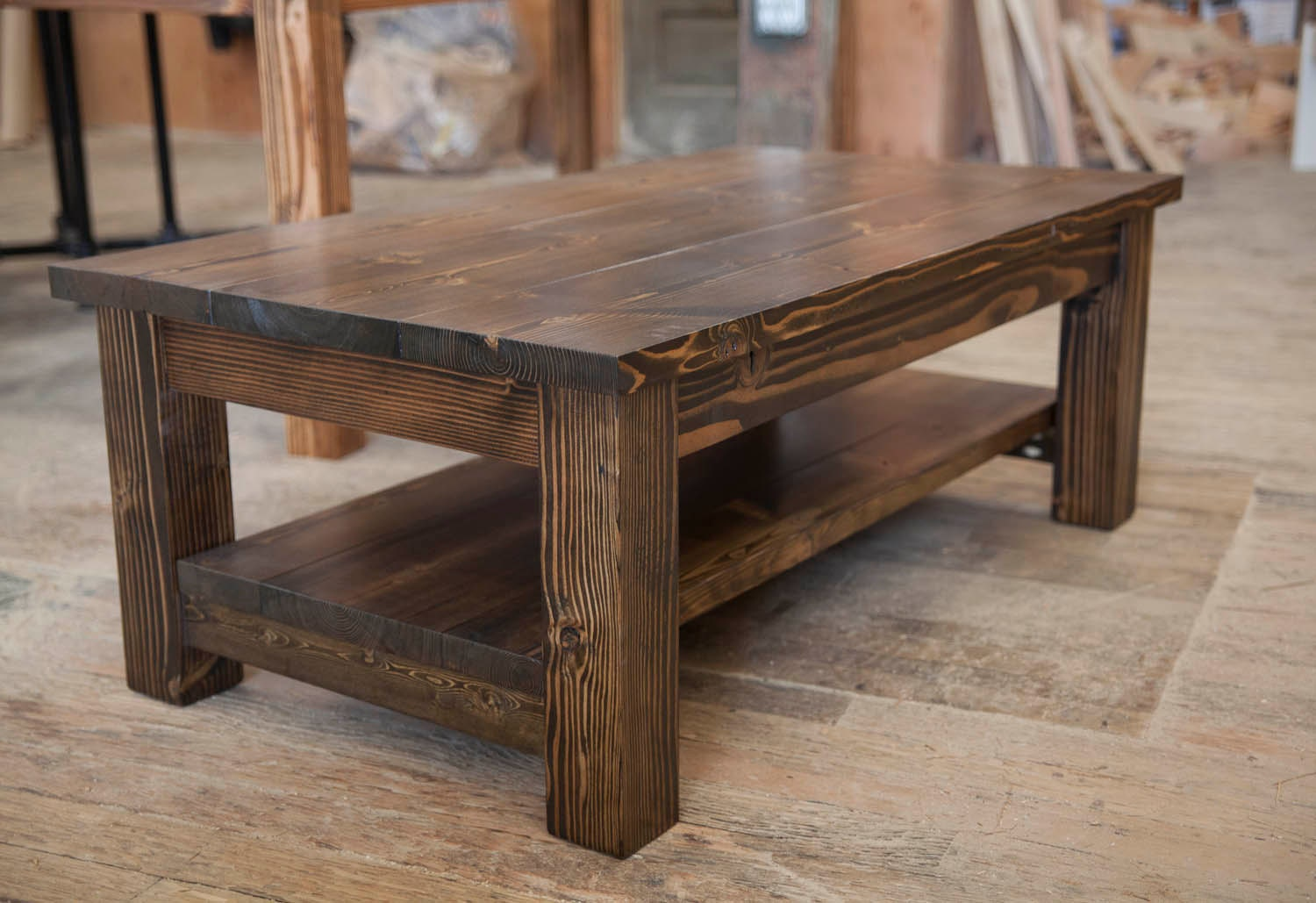 Farmhouse Coffee Table Rustic Coffee Table Solid Wood Etsy
