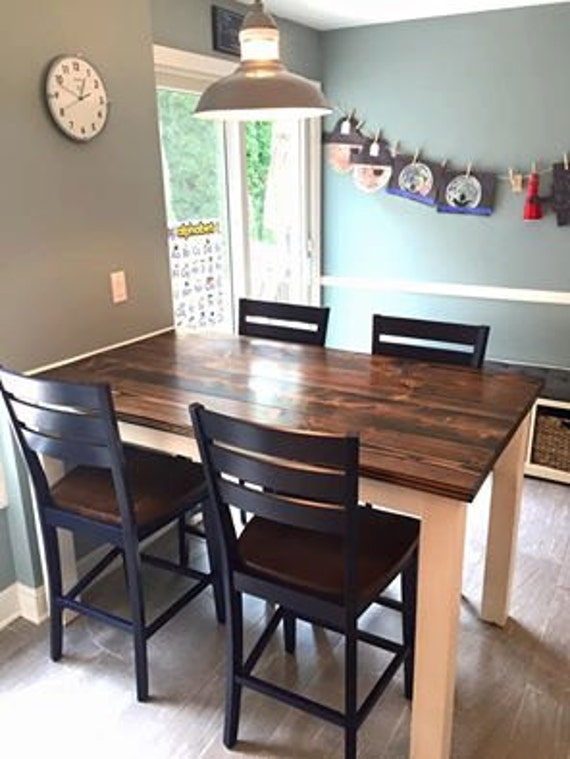 Counter Height Farmhouse Table   Solid Wood Farmhouse Dining Table    Kitchen Table   Rustic Farmhouse   Built to Order