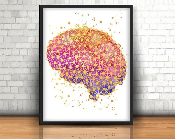 Brain Print, Anatomy Wall Art, Medical Canvas, Science Decor, Home Office Decor, Neurologist Doctor, Neurosurgeon Gift