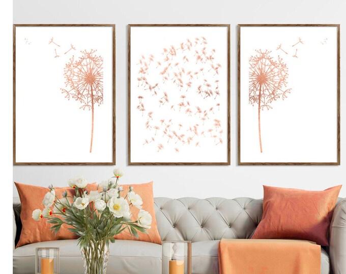 Dandelion Art, Set Of 3, Dandelion Art Print, Flower Print, Wall Art, Bedroom Wall Décor, Floral Print
