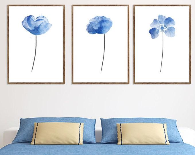 Blue Flowers, Flowers Wall Decor, Set Of 3, Abstract Flower Poster, Botanical Wall Decor, Flower Art, Floral Garden Artwork, Girl Room Decor