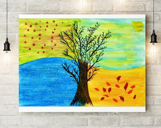 Tree Painting Canva, Watercolor tree, Four Seasons Art, Wall Art Living Room decor, Home decor, Giclee Print, housewarming gift