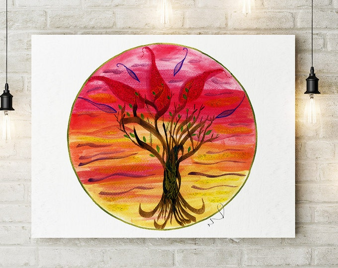 Tree Painting, Watercolor Tree, Autumn Tree, Tree of Life, Red Home Decor, Home Gallery, Canvas Wall Art, Gifts for Her, Yoga Studio Decor