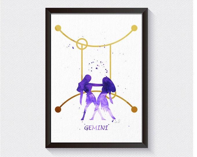 Gemini Art, Wall Art, Zodiac Art Series, Gemini Print, Horoscope Wall Art, Zodiac Print, Celestial Art, Watercolor Wall Art