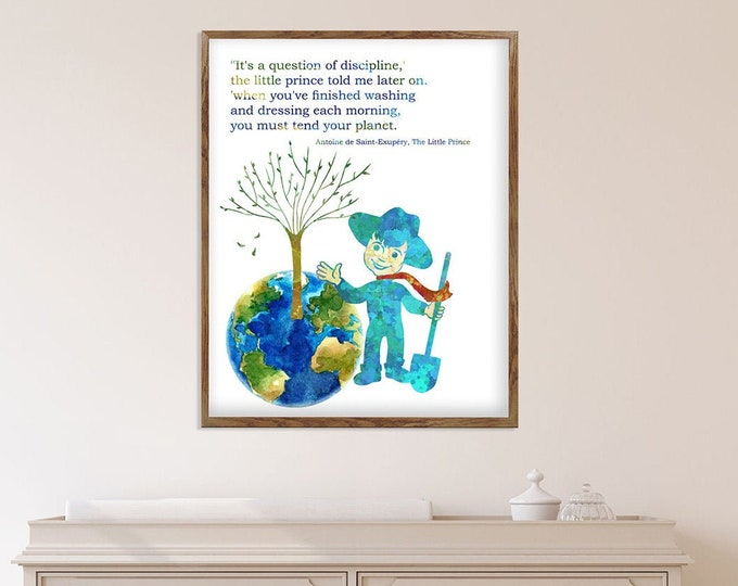 Little Prince Poster, Classic Little Prince Quote, Quotes Illustrations, Kids Book Quote, Nursery Décor, Kids Room Décor