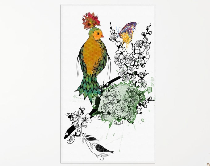Whimsical Bird | Oversized Wall Art | Bird Art Print | Wildlife Art | Bird Canvas | Bird Lover Gift | Bird Wall Art