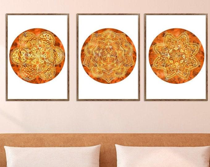 Mandala Art, Original orange, Mandala Wall Art, Set of 3 Prints, Studio Wall Décor, Mandala Print Art