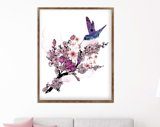 Hummingbird Wall Oversized Wall Art | Cherry Blossom Painting | Wildlife Art | Ink Art Canvas | Bird Lover Gift | Bird Wall Art | Wall Décor