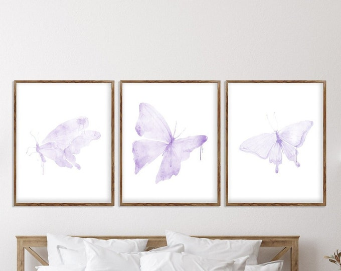 Watercolor Butterfly, Art Print Set, Insect Art, Nature Wall Art, Butterfly Illustration, Purple Wall Art, Set of 3 prints