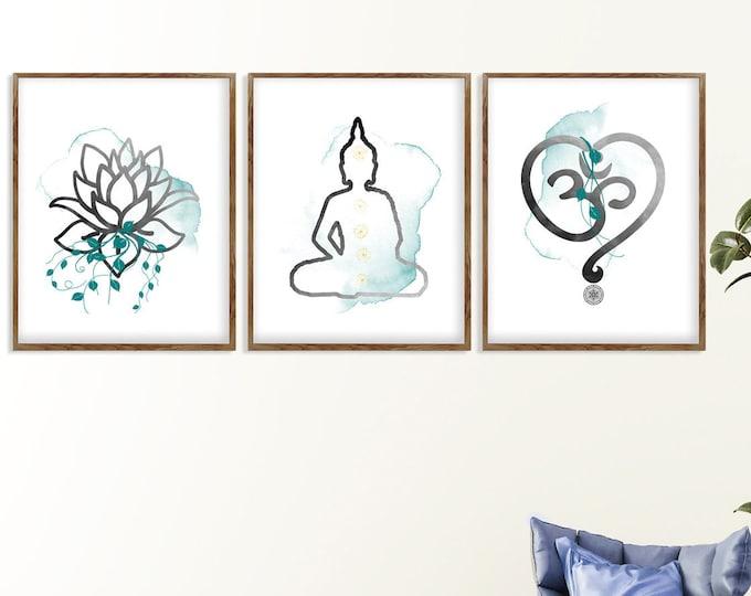 Yoga Wall Art, Set Of 3 Prints, Meditation Room, Zen Art, Spiritual Art, Sacred Wall Art, Bedroom Wall Décor, Om Symbol, Lotus Décor