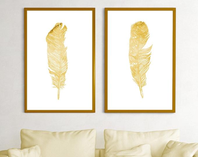 Feather Gold Art, Print Set 2, Feather Nursery, Living Room Decoration, Minimalist Kid Room Art, Feather Illustration, Feather Wall Gallery
