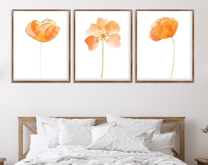 Set of 3 Prints, Abstract Flowers Painting, Large Wall Art Print, Modern Flower Print, Orange Wall Décor, Canvas Wall Art