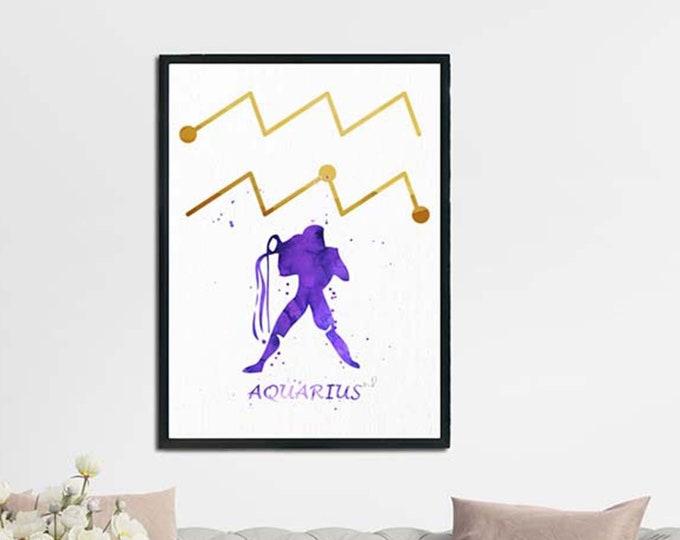 Aquarius Art Print, Zodiac Art Series, Wall Art, Aquarius Print, Horoscope Wall Art, Zodiac Print, Celestial Art, Watercolor Wall Art