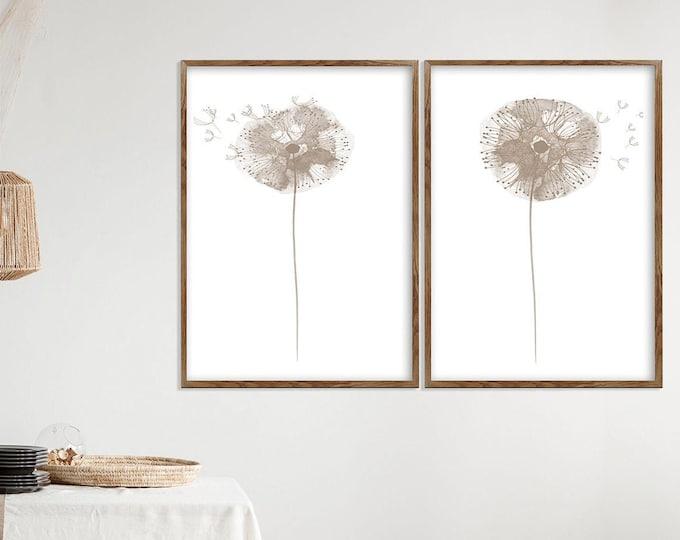 Dandelion Minimalist Painting, Dandelion Seeds, Taupe Wall Décor, Abstract Flower Watercolor Art Print, Set 2 Art Prints