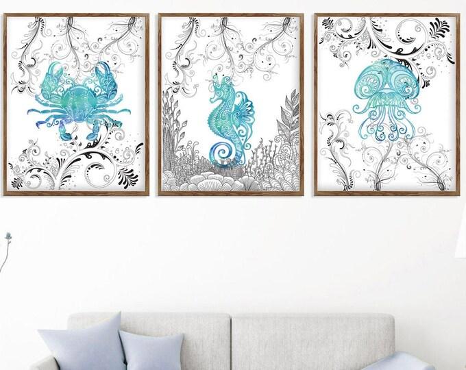 Sea Life Wall Art, Set of 3 Print, Nautical Wall Art, Bathroom Décor, Sea Life Print, Coastal Art Print, Large Canvas