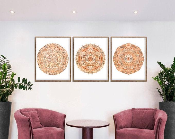 Mandala Art, Original Rose Gold, Mandala Wall Art, Set of 3 Prints, Studio Wall Décor, Mandala Print Art