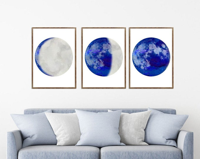 Moon Phase Art Set, Wall Art, Set Of 3 Prints, Contemporary Art, Blued Print, Large Canvas, Bedroom Wall Décor, Gallery Wall Art
