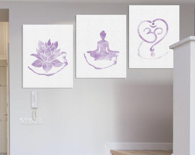 Meditation Room, Zen Watercolor Art Print, Set of 3 Yoga, Om Symbol, Buddha Art Print, Lotus Flower, Wall Décor, Birthday Gift