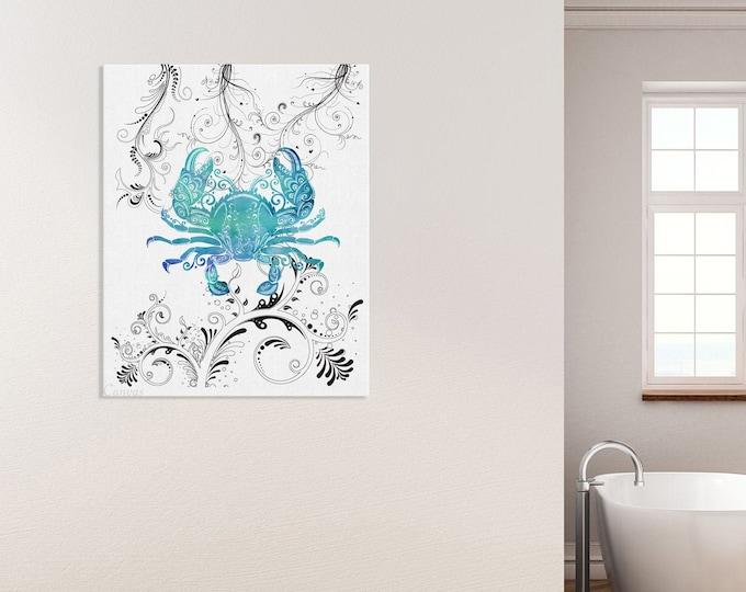 Blue Crab, Watercolor Art Print, Coastal Décor, Wall Art, Beach House Decoration, Sea Art Print, Nautical Print