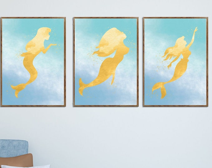 Mermaid Decor, 3 Piece Art Print, Girls Room Wall Art, Bathroom Art, Beach House Decor, Watercolor Painting, Large Poster, Girl Gift Ideas