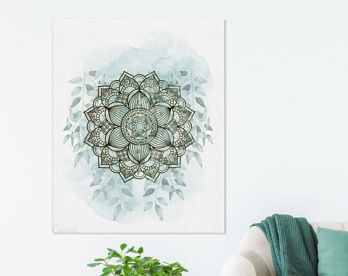 Mandala Wall Art, Eucalyptus Art Print, Mandala Painting, Bohemian Wall Décor, Modern Mandala, Mandala Art, Modern Floral Painting