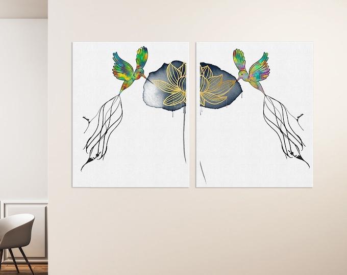 Hummingbird Art, Set of 2 Prints, Watercolor Lotus, Ink Drawing, Tropical Art, Large Canvas Art, Colorful Wall Art, Bird Illustration